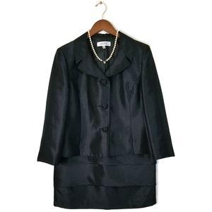 KASPER Black Skirt Suit Tiered Lined Size 12